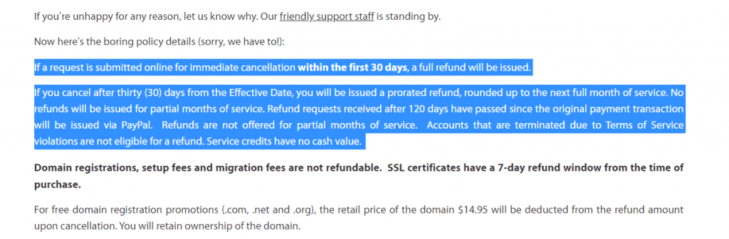 Refund Policy of A2Hosting