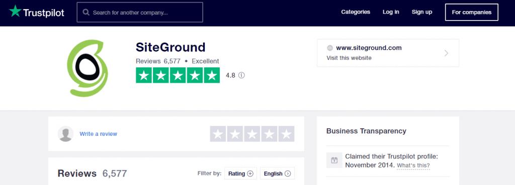 SiteGround Reviews on Trustpilot