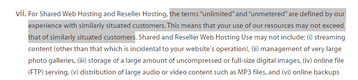Terms of services by A2Hosting on Unlimited Sites